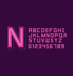 Pink neon light alphabet font vector
