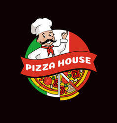 pizza house promotional logo with cook in hat vector image