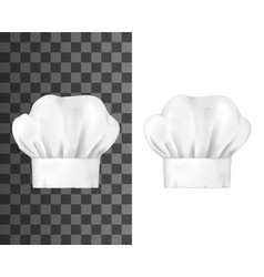 Realistic chef hat white toque mockup vector