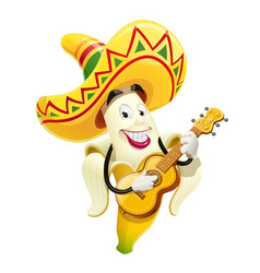 ripe banana with guitar vector image