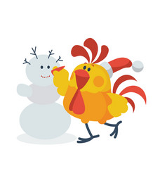 Rooster with snowman flat vector