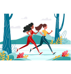 running young girls in forest with headphones vector image