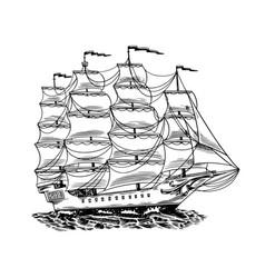 Sailboat in sea summer adventure active vector