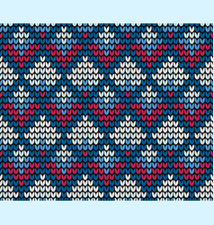 Seamless squares blue knitting background vector