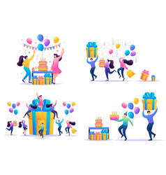 Set 2d flat concepts celebrate birthday party vector