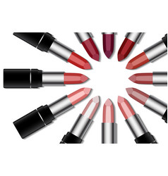 set of colorful lipstick on white background make vector image