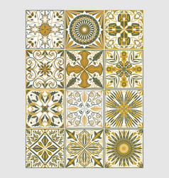 Set of decorative tiles in azulejo style vector