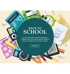 Set of school supplies on a light background with vector image