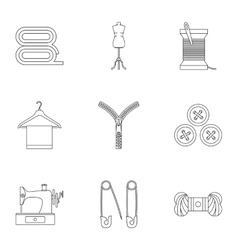 Sewing supplies icons set outline style vector