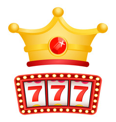 Slot machine and royal crown with gemstone vector