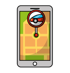 smartphone gps navigation map and pin car app vector image