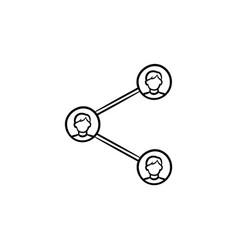social media sharing hand drawn outline doodle vector image