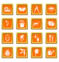 spring icons set orange square vector image