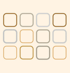 square nautical ropes frames set vector image vector image