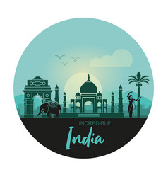 stylized landscape with sights india and a vector image