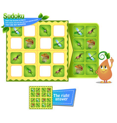 sudoku kids game insects vector image