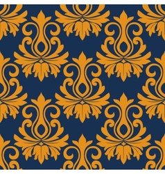 Symmetric golden flowers pattern vector image