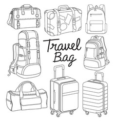 Travel bag backpack doodle style vector