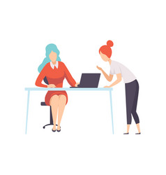 Two businesswoman working in office office vector