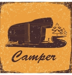 Vintage Poster with Trailer Vehicles Camper Vans vector