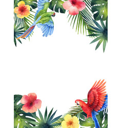 Watercolor card with red parrot tropical vector