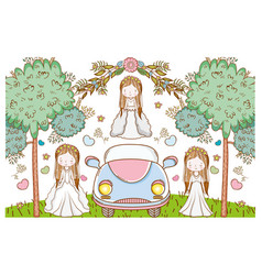 wedding women with car and flowers plants leaves vector image
