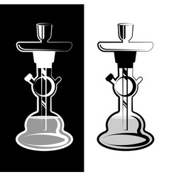 White and black silhouette hookah vector