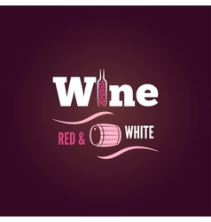 Wine bottle red and white design background vector