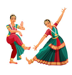Woman dancer in national indian cloth dancing vector