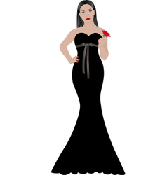 woman in black dress vector image