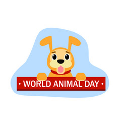World animal day cute dog concept background flat vector