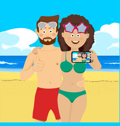 young couple at the beach taking selfie picture vector image