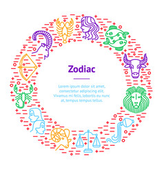 zodiacal thin line banner card circle vector image