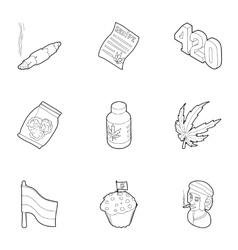 Drug icons set outline style vector image vector image