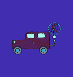 Flat shading style icon car and smoke vector