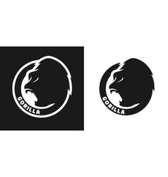 Silhouette of an gorilla monochrome logo vector image