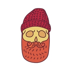 Skull with Hipster mustachecap and beards vector image vector image