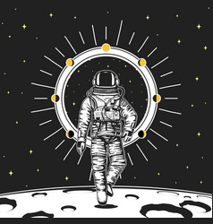 Astronaut spaceman moon phases planets in solar vector