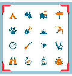 camping and hunting icons - in a frame series vector image vector image