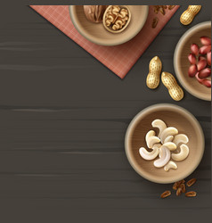 different nuts in bowls vector image