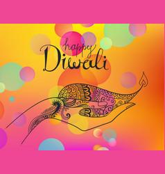 diwali hand drawn line art vector image vector image