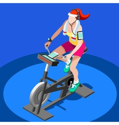 Exercise bike spinning gym class 3d image vector