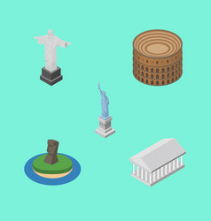 isometric architecture set of coliseum rio chile vector image
