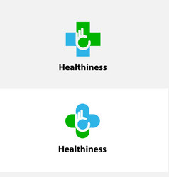 medical cross amp hand iconmedical center logo vector image vector image