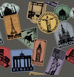 vintage paper color landmarks travel labels vector image