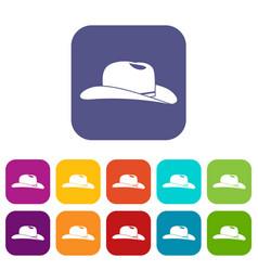 cowboy hat icons set vector image vector image