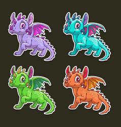 funny cartoon dragon vector image