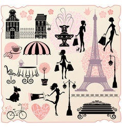Set for fashion or retail design - Effel Tower vector image
