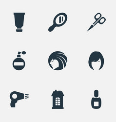 set of simple barber icons vector image vector image