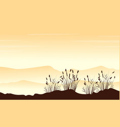 Style landscape mountain with grass silhouettes vector